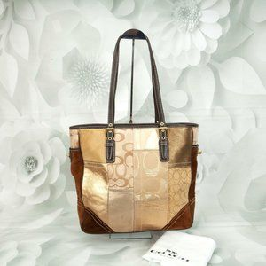 Coach Holiday Patchwork Shoulder Tote Handbag